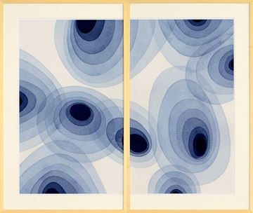 Picture of Indigo Ovals Diptych