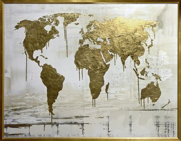 Picture of World Map - Gilded