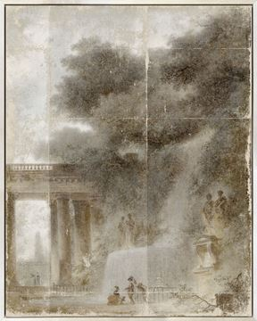 Picture of Fragonard - The Cascade - Framed Canvas (B)