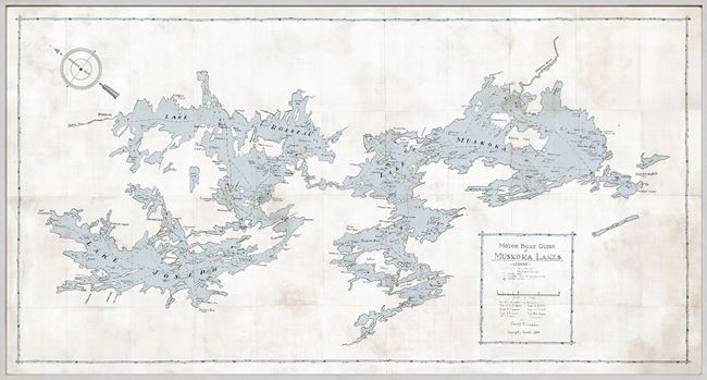 Picture of Map - Motorboat Guide of Muskoka Lakes - Framed Canvas - Natural - Mid