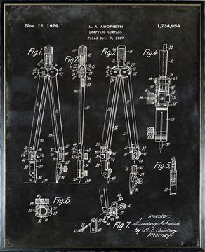 Picture of Patent - Drafting Compass Large