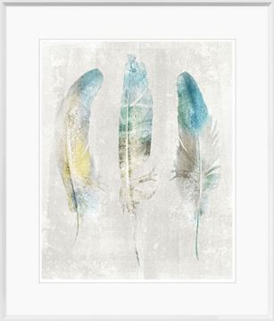 Picture of Aqua Feathers on Linen I