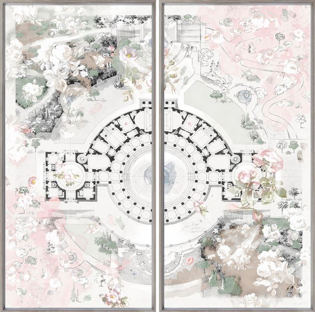 Picture of Roman Villa Rose - Diptych - Framed Canvas Lrg