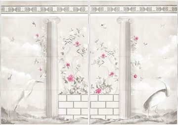 Picture of Greco-Roman Aviary Diptych - Mid Canvas