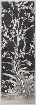 Picture of Chinoiserie Panel III C. 1890 - Charcoal - Small